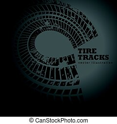 circular tire track on dark background