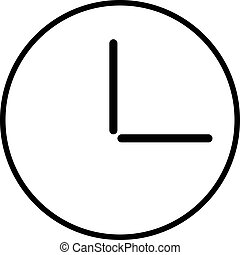 Circular wall clock line icon, outline vector sign, linear style pictogram isolated on white. Office watch symbol, logo illustration. Editable stroke