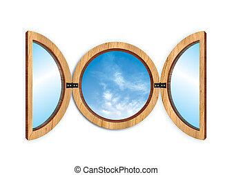 window - circular window\\\'s illustration with a blu sky