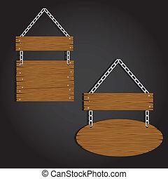 circular wooden signage