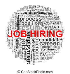 Circular wordcloud design job hiring word tags