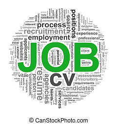 Circular wordcloud design job word tags
