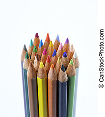 Circulary group of colored pencils on a white  background