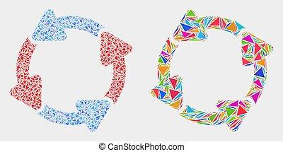 circulation, flèches, vecteur, triangles, mosaïque, icône