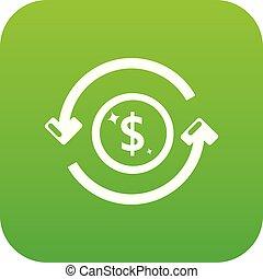 Circulation money icon green vector