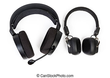 High-fidelity headset with earpads circumaural type and headphones with earpads supra-aural type on a white background, top view