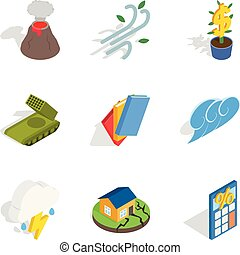 Circumstances icons set, isometric style - Circumstances...