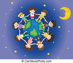 circundante, niños, feliz, tierra
