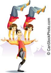 cartoon illustration of circus acrobatic