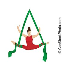 Circus aerial gymnast on the canvases. Flat vector illustration.