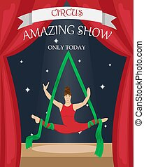 Circus aerial gymnast on the canvases. Flat vector poster.