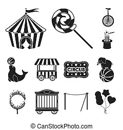Circus and attributes black icons in set collection for...