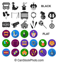Circus and attributes flat icons in set collection for...