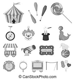 Circus and attributes monochrome icons in set collection for design. Circus Art bitmap symbol stock web illustration.