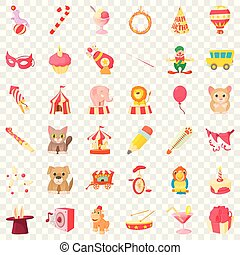 Circus animal icons set, cartoon style