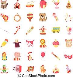 Circus animal icons set, cartoon style