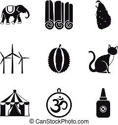 Circus animal icons set, simple style
