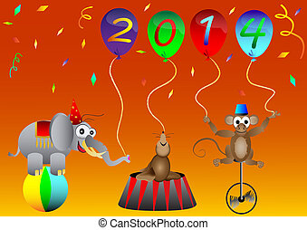 circus animal New 2014 Year balloon