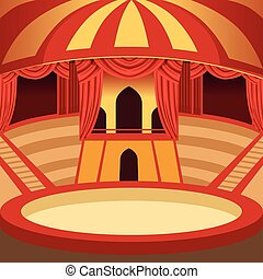 Circus arena cartoon design. Classic stage with yellow and red striped dome, sits and curtains. Background for poster or invitation. Vector