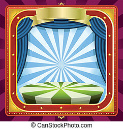 Illustration of a square holidays circus frame background poster with banners, blue curtains and gold ornaments for arts events and entertainment background