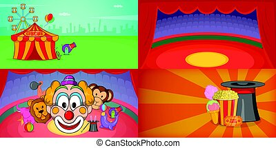 Circus banner set horizontal, cartoon style