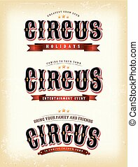 Circus Banners On Vintage background