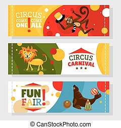 Circus banners with animals