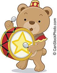 Circus Bear Drummer - Cartoon illustration of a circus bear...