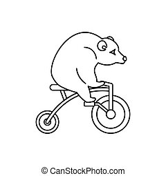 Circus bear on a bicycle icon, outline style