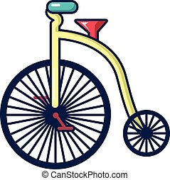 Circus bicycle icon, cartoon style