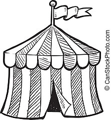 Circus big top sketch - Doodle style circus tent in vector...