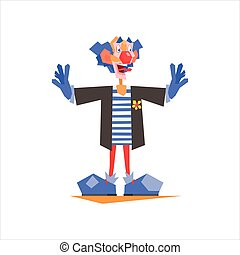 Circus Blue Clown Performing