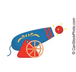 Circus Cannon icon flat style , isolated on white background. Vector illustration.