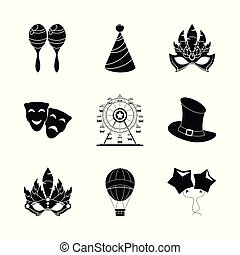 Circus carnaval icons set