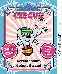 Circus carnival color vintage vector template