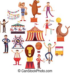 Circus carnival flat vector icons in circle design