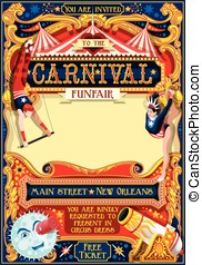 Circus Carnival Illustration vintage 2d vector - Circus...