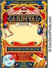 Circus Carnival Illustration vintage 2d vector - Circus...