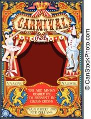 Circus Carnival Theme vintage 2d vector - Circus juggler...