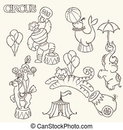 Circus cartoon icons collection with chapiteau tent and trained wild animals.