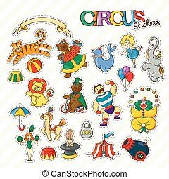 Circus cartoon stickers collection with chapiteau tent and trained wild animals.