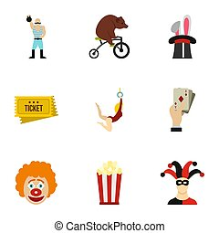 Circus chapiteau icons set, flat style