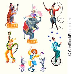 Circus characters. Isolated vector illustration