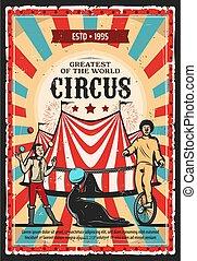 Circus clown, acrobat and juggler with top tent