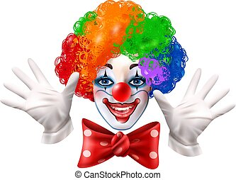 Circus Clown Face Colorful Realistic Portrait
