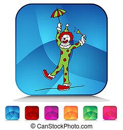 circus clown, glanzend, knoop, set