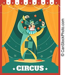 Circus Clown Juggling Performance Poster