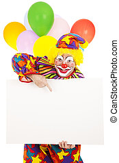 Circus Clown - Message - Funny circus clown holding a blank...
