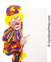 Circus Clown Pointing - Circus clown pointing at a blank...