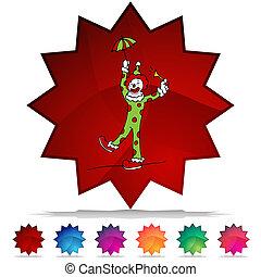 Circus Clown Shiny Button Set